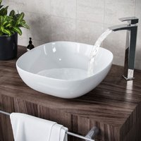 Etive 330 x 410mm Square Rounded Cloakroom Counter Top Basin Sink Bowl