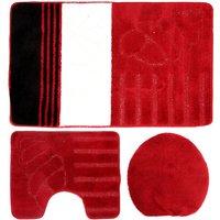 Three Piece Shell Bathroom Set (60x100cm) (Red/White/Black) - Eurobano