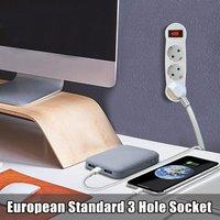 European Standard Three Socket Round Plug 3 Hole Socket With Switch On Off Extension Socket Adapter Power Strip Socket Drop/ship