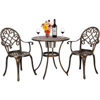 Talkeach - European Style Cast Aluminum Outdoor 3 Piece Patio Bistro Set of Table and Chairs with Ice Bucket Bronze