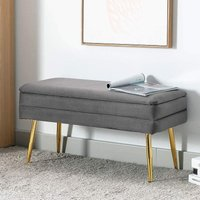 Evelina Velvet Storage Ottoman Bench Footrest Chest Bedroom Livingroom Stool Grey