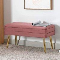 Evelina Velvet Storage Ottoman Bench Footrest Chest Bedroom Livingroom Stool Pink