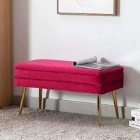 Evelina Velvet Storage Ottoman Bench Footrest Chest Bedroom Livingroom Stool Berry