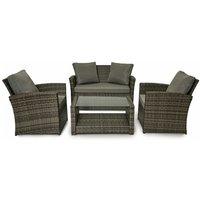Rattan Garden Furniture Weave Wicker Sofa Set Conservatory Set Grey Roma - Evre