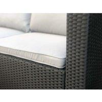 Rattan Outdoor Garden Furniture Set Miami Sofa Coffee Table, Foot Stool Rattan (Black) - Black - Evre
