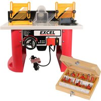 Excel Table Router Cutter 240V with 1/2in Shank TCT Cutter 12 Piece Bit Set