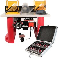 Excel Table Router Cutter 240V with 1/2in Shank TCT Router Cutter Bit 12 Piece Set