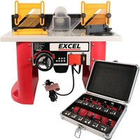 Excel Table Router Cutter 240V with 1/4in Shank TCT Router Cutter Bit 12 Piece Set