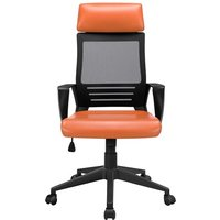 Executive Office Chair Ergonomic Mesh Computer Chair Adjustable Desk Chair with Lumbar Support and PU Leather Paded Seat - Orange