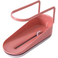 Extendable Sink Rack for Sink - Expandable Storage Basket - Sponge Soap Dish - Suction Cup Drainer - For Home or Kitchen - Pink
