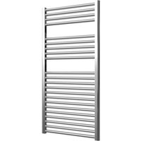 Greenedhouse - Extra High Heat Output Chrome Electric Towel Rail 600 x 1200mm + TIMER / ROOM THERMOSTAT Flat Bathroom Radiator Heater