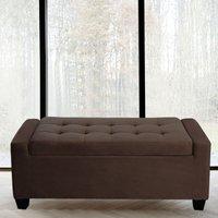 Extra Large Velvet Storage Box Bench Footstool, Coffee - LIVINGANDHOME