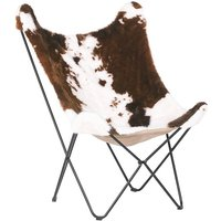 Beliani - Fabric Armchair Cow Pattern Butterfly Chair Hairpin Legs Brown with White Nybro