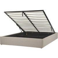 Beliani - Modern Fabric EU Double Size Bed Frame 4ft6 Linen Storage Beige Dinan