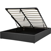 Beliani - Modern Fabric EU Double Size Bed Frame 4ft6 Linen Storage Grey Dinan