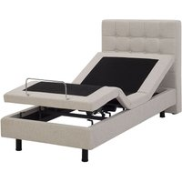 Fabric EU Single Adjustable Bed Beige DUKE - BELIANI