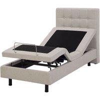 Fabric EU Small Single Adjustable Bed Beige DUKE - BELIANI