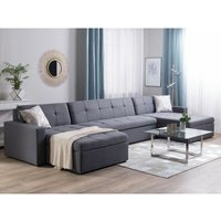 Reversible Fabric Modular Corner Sofa Bed Grey LAURILA - BELIANI