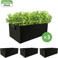 Briday - Fabric Raised Garden Beds 3Pcs 10 Gallon Plant Grow Bags for Vegetables Rectangle Non-Woven Fabrics Aeration Planting Bags Planter Pot with