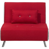 Beliani - Modern 1 Seater Fabric Sofa Bed Single Guest Bed Living Room Red Farris