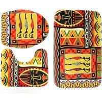 Face Tribe Pattern Home Bathroom Decor Set 3pcs mats