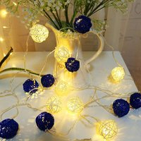 Fairy Lights, 20 LEDs Lights 4M String Lights, Battery Powered, for Christmas, Bedroom, Party, Wedding, Garden, DIY. (Blue and White) (Bule + White)