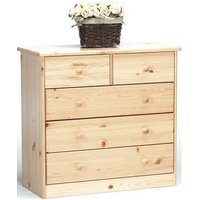 Farm Style Solid Pine With Natural Lacquer Chest - 2+3 Drawers Danish Made Quality - NETFURNITURE