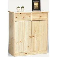 Farm Style Solid Pine With Natural Lacquer Sideboard - 2 Door 2 Drawer Danish Made - NETFURNITURE