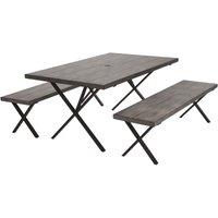 Farmstead 3 Piece Dining Table And Bench Patio Garden Set COSCO Outdoor Living