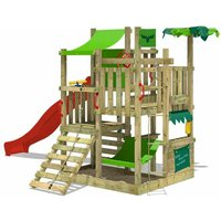 FATMOOSE Wooden climbing frame BananaBeach with red slide, Garden playhouse with sandpit, climbing wall and play-accessories