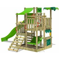 Wooden climbing frame BananaBeach with apple green slide, Garden playhouse with sandpit, climbing wall and play-accessories - Fatmoose