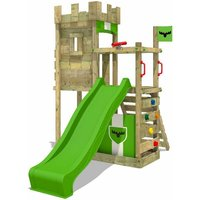 Wooden climbing frame BoldBaron with apple green slide, Knights playhouse with sandpit, climbing ladder and play-accessories - Fatmoose