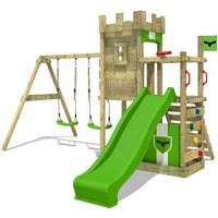 FATMOOSE Wooden climbing frame BoldBaron with swing set and apple green slide, Knights playhouse with sandpit, climbing ladder and play-accessories
