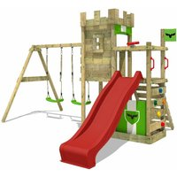 FATMOOSE Wooden climbing frame BoldBaron with swing set and red slide, Knights playhouse with sandpit, climbing ladder and play-accessories