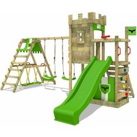 FATMOOSE Wooden climbing frame BoldBaron with swing set SurfSwing and apple green slide, Knights playhouse with sandpit, climbing ladder and