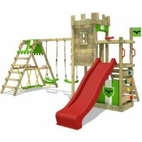 FATMOOSE Wooden climbing frame BoldBaron with swing set SurfSwing and red slide, Knights playhouse with sandpit, climbing ladder and play-accessories
