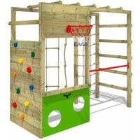 Wooden climbing frame CleverClimber , Garden playhouse with sandpit, climbing wall and play-accessories - Fatmoose