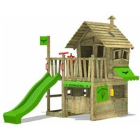 Wooden climbing frame CountryCow with apple green slide, Playhouse on stilts for kids with sandpit, climbing ladder and play-accessories - Fatmoose
