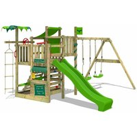Wooden climbing frame CrazyCoconut with swing set and apple green slide, Garden playhouse with sandpit, climbing wall and play-accessories - Fatmoose