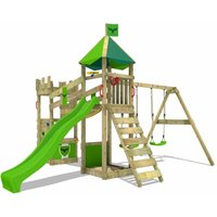 Wooden climbing frame DazzyDuke with swing set and apple green slide, Knights playhouse with sandpit, climbing ladder and play-accessories - Fatmoose