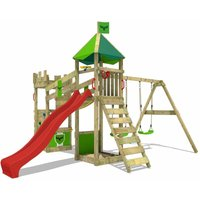Wooden climbing frame DazzyDuke with swing set and red slide, Knights playhouse with sandpit, climbing ladder and play-accessories - Fatmoose