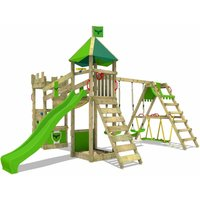 Wooden climbing frame DazzyDuke with swing set SurfSwing and apple green slide, Knights playhouse with sandpit, climbing ladder and play-accessories