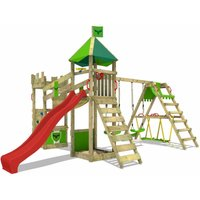 FATMOOSE Wooden climbing frame DazzyDuke with swing set SurfSwing and red slide, Knights playhouse with sandpit, climbing ladder and play-accessories
