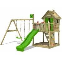 FATMOOSE Wooden climbing frame DonkeyDome with swing set and apple green slide, Playhouse on stilts for kids with sandpit, climbing ladder and