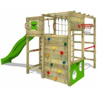 Wooden climbing frame FitFrame with apple green slide, Garden playhouse with climbing wall and play-accessories - Fatmoose