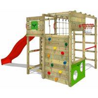 MEGA-SALE Wooden climbing frame FitFrame with red slide, Garden playhouse with climbing wall and play-accessories - Fatmoose