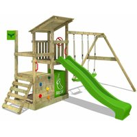 Wooden climbing frame FruityForest with swing set and apple green slide, Garden playhouse with sandpit, climbing ladder and play-accessories - Fatmoose
