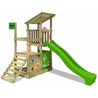 Wooden climbing frame FruityForest with apple green slide, Garden playhouse with climbing ladder and play-accessories - Fatmoose