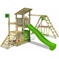 FATMOOSE Wooden climbing frame FruityForest with swing set SurfSwing and apple green slide, Playhouse on stilts for kids with sandpit, climbing