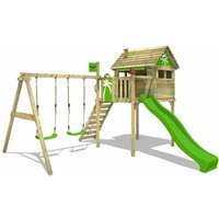 FATMOOSE Wooden climbing frame FunFactory with swing set and apple green slide, Playhouse on stilts for kids with climbing ladder and play-accessories